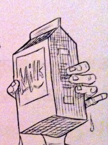 The Milk illustration from Fortunately, the Milk by Neil Gaiman and Chris Riddell